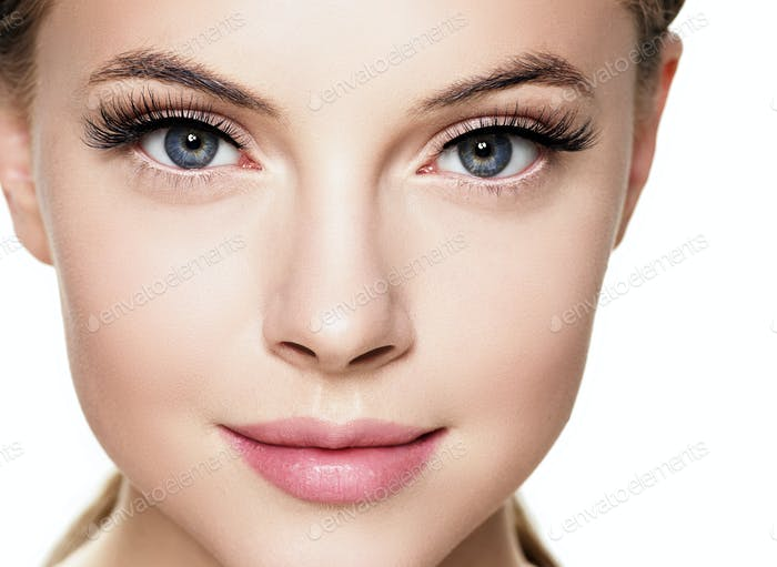 Eyelashes woman eyes face close up with beautiful long lashes isolated on white