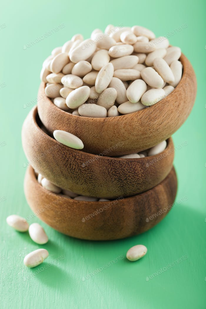 raw haricot legumes cannellini beans in bowl