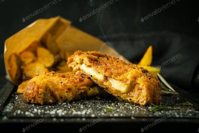 Delicious chicken schnitzel with cheese