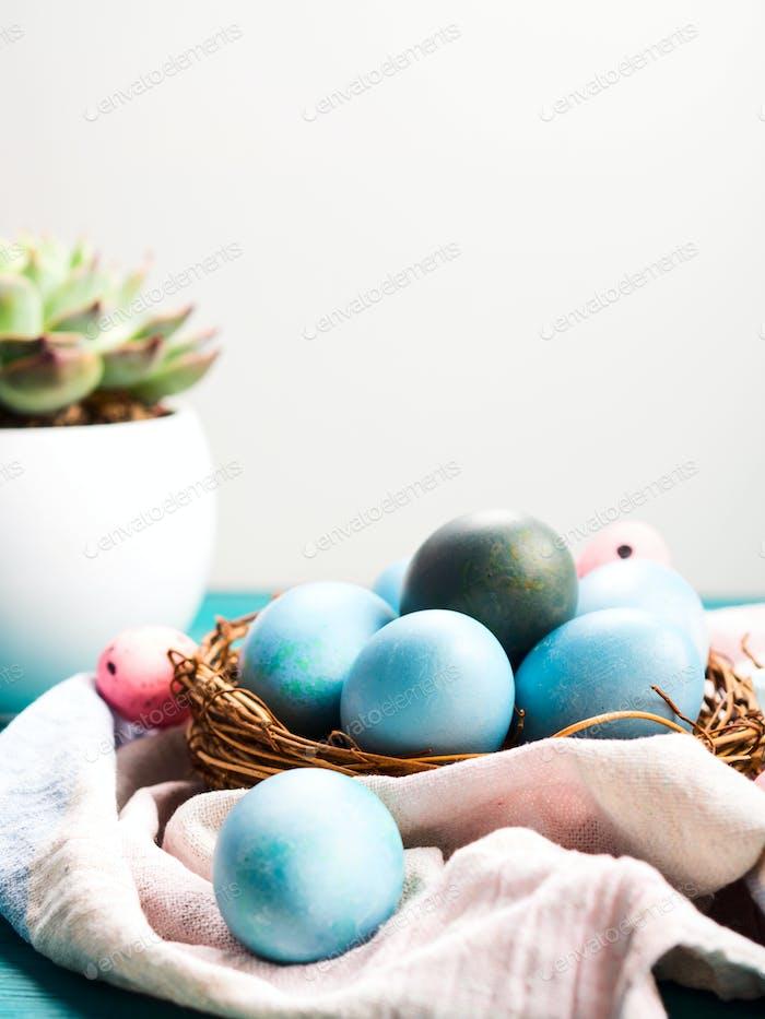 Easter hard boiled blue eggs in nest on table