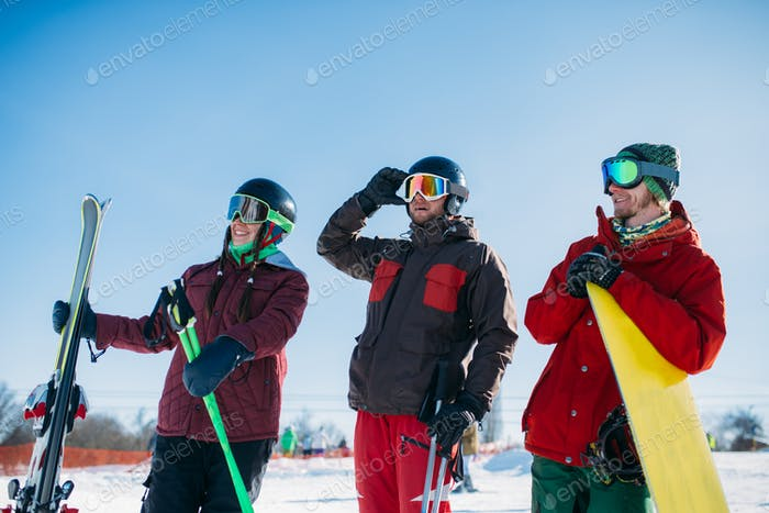 Skiers and snowboarder poses, winter sport