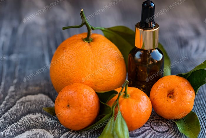 Dropper bottle of mandarin essential oil