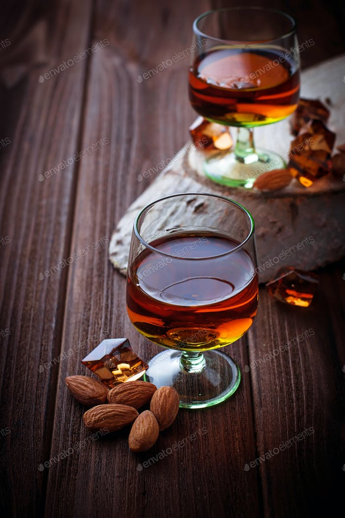 Almond liquor amaretto and almonds