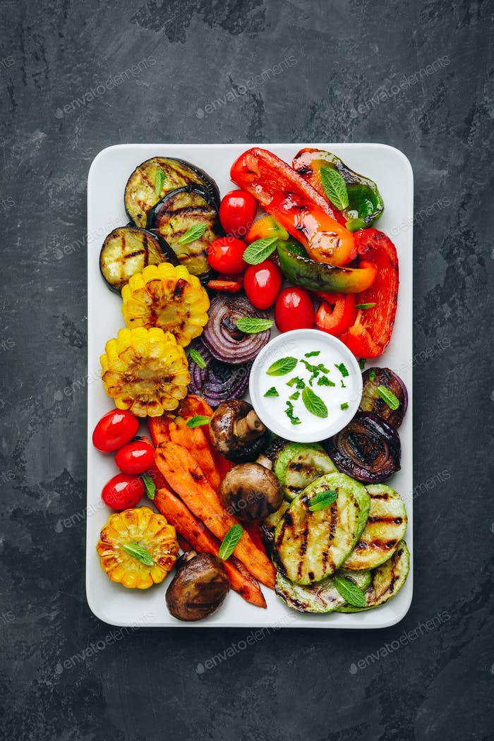 Grilled Vegetable Platter with Zucchini, mushrooms, eggplant, carrots,