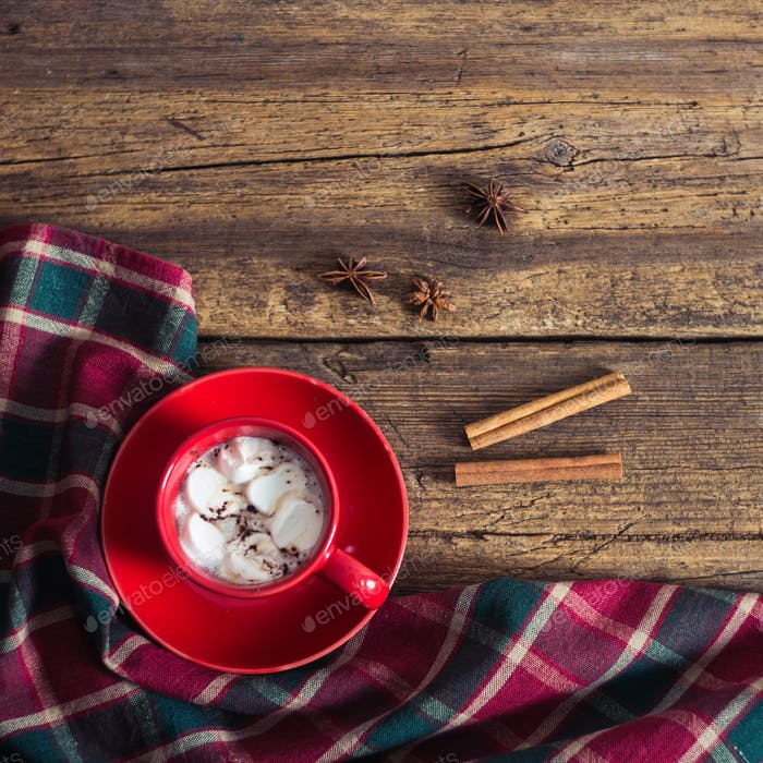 red cup with cocoa and marshmallows on the wooden background