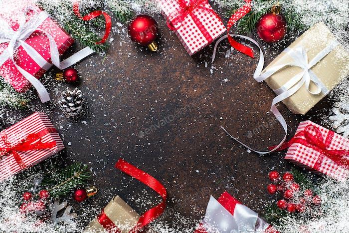 Christmas present box on dark background