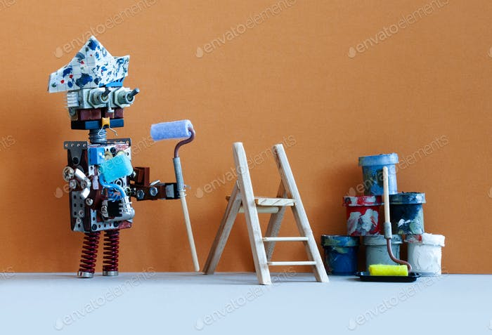 Serious robotic painter decorator ready for interior improvement works