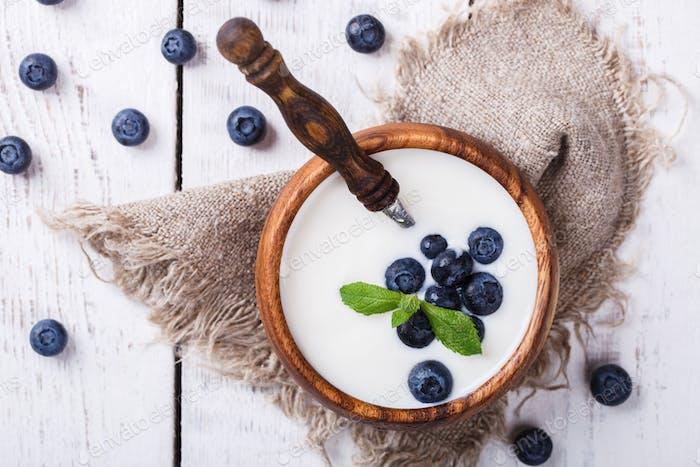 Homemade Yogurt, sour cream bowl of blueberries