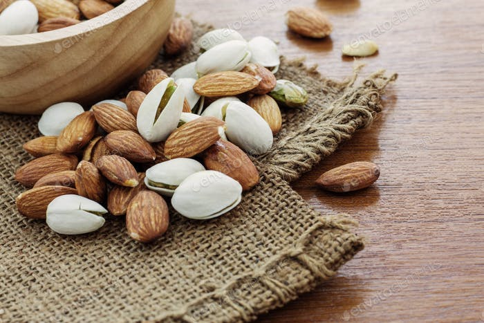 Dried almonds on sackcloth