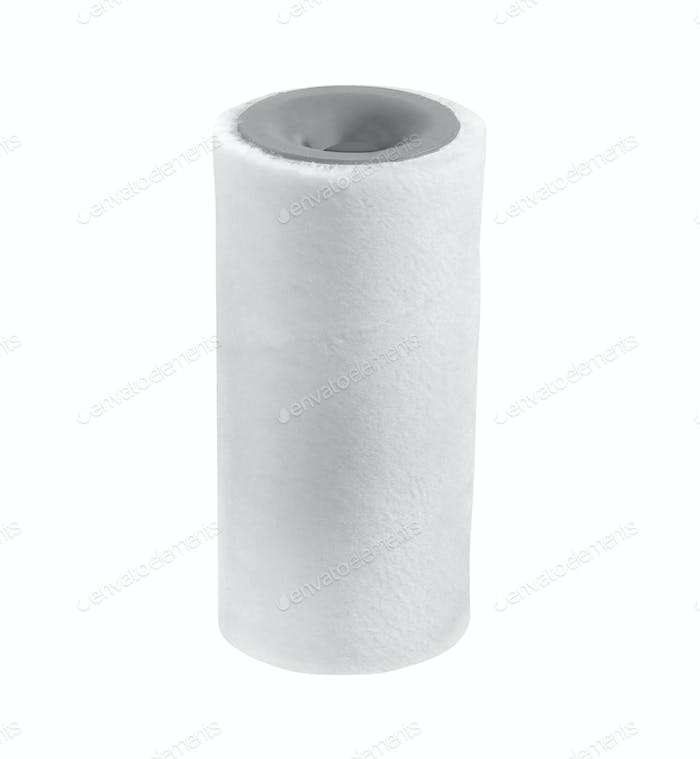Cleaning paper towel roll isolated on white background