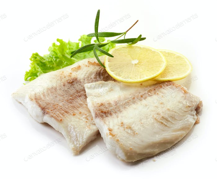 roasted bream fish fillets on white background