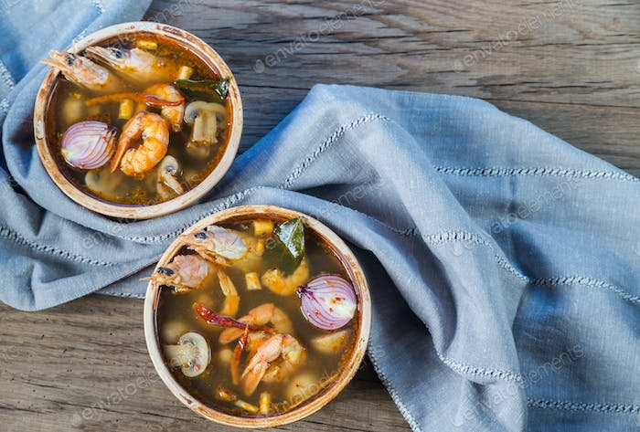 Two bowls of thai tom yum soup