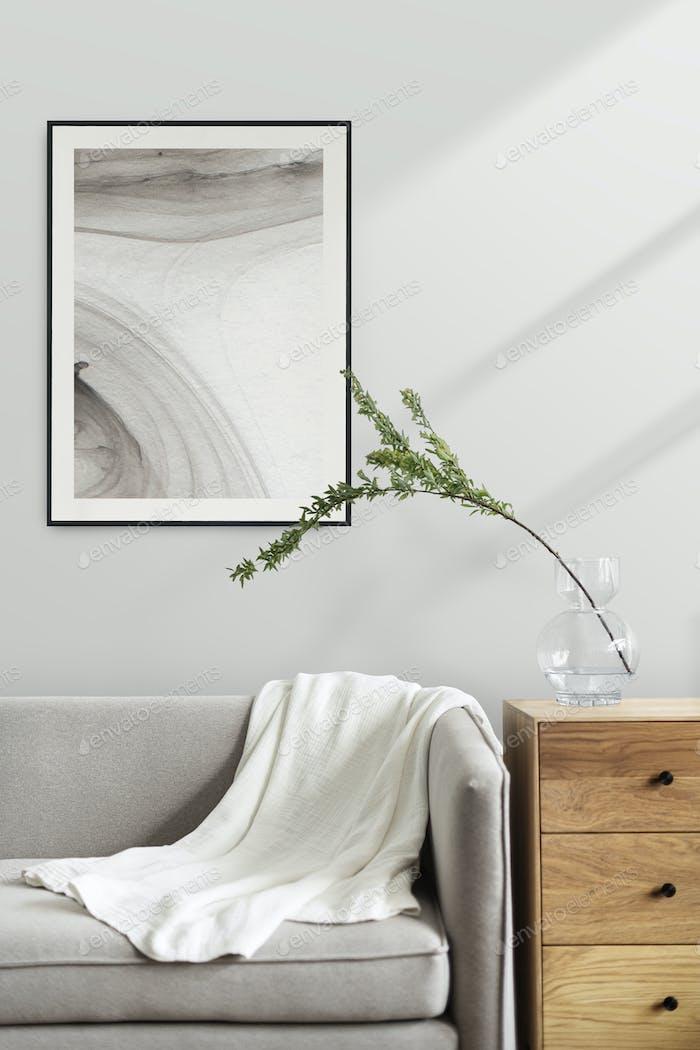 Aesthetic frame in a Scandinavian decor living room