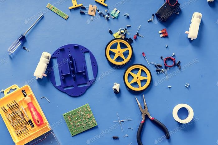 Electronic toy component isolated on background