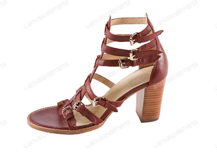 Maroon high heel ankle boot leather roman sandal
