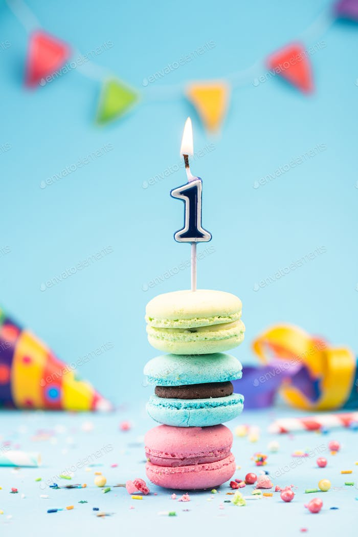 First 1st Birthday Card with Candle in Colorful Macaroons and Sp