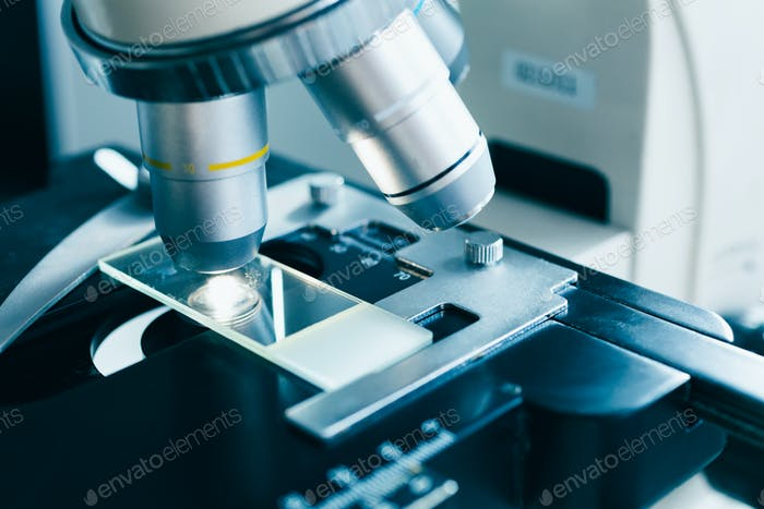 Modern microscope in the laboratory.