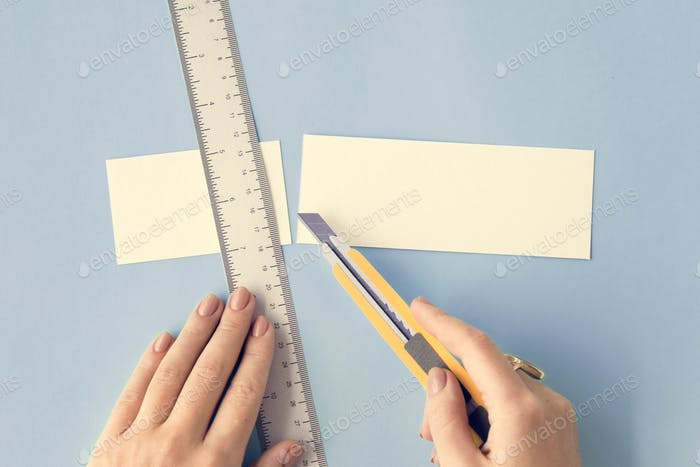 Cutter Ruler Paper Art Color Design Creative Concept