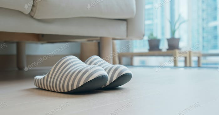 A pair of slipper at home