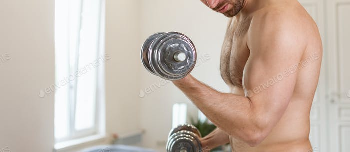 Unrecognizable Shirtless Man Exercising With Dumbbells Training At Home