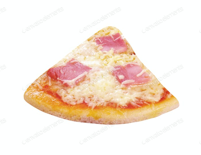 single slice of pizza isolated on white