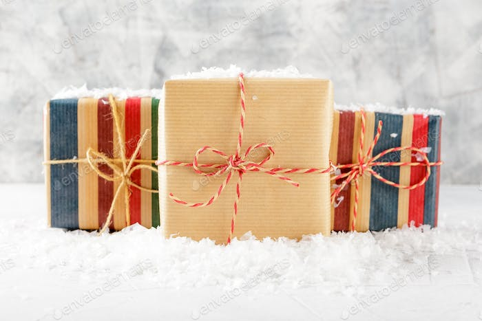 Boxes with Christmas gifts.