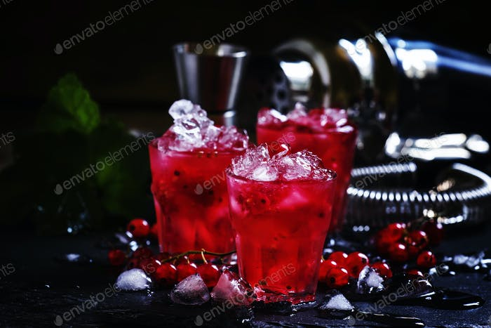 Red currant drink with ice