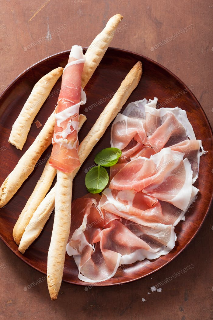 prosciutto ham and grissini bread sticks