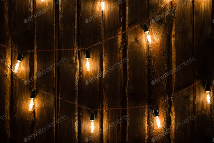 Designer light bulbs on dark wooden background