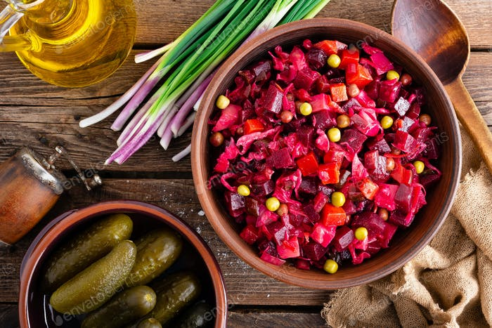 Beet Salad. Salad of beetroot. Vinaigrette. Vegan food. Traditional ukrainian cuisine. Top view.
