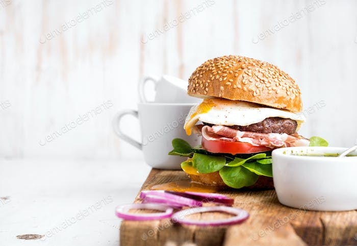 Homemade beef burger with fried egg