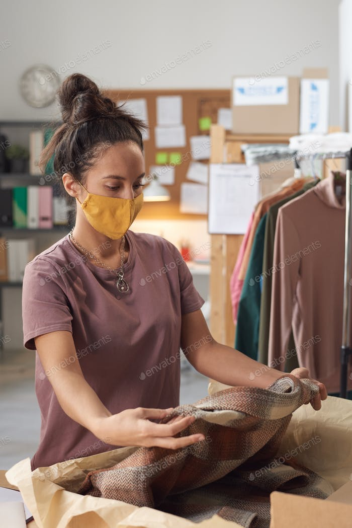 Woman working with parcel