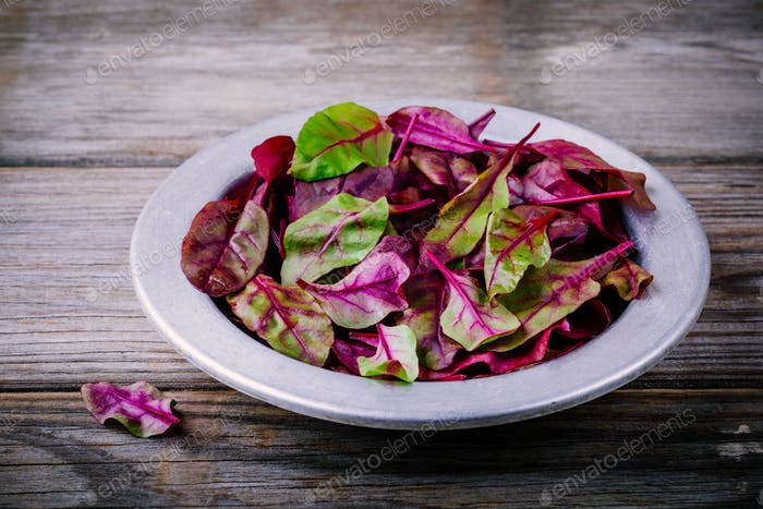 Fresh organic raw leaves of lettuce beets for salad on a wooden  background.