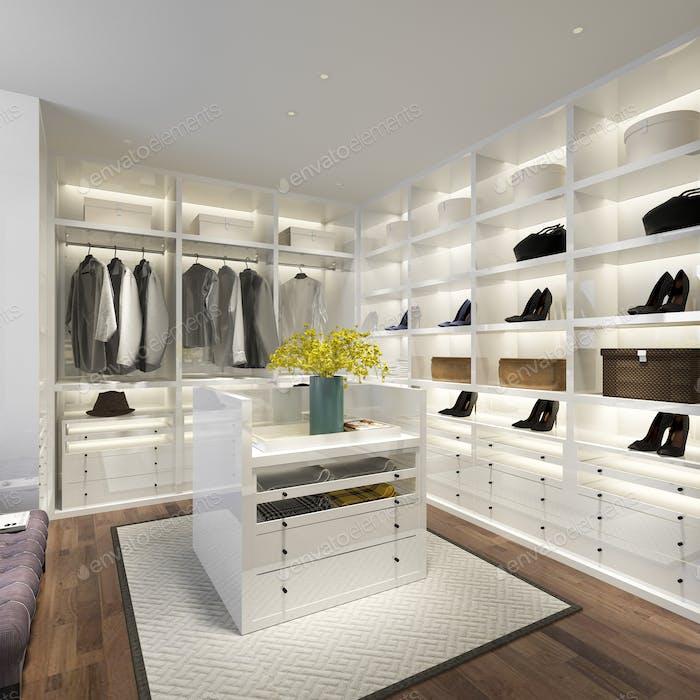 3D Rendering minimalen weißen skandinavischen Holz zu Fuß in Schrank mit Kleiderschrank