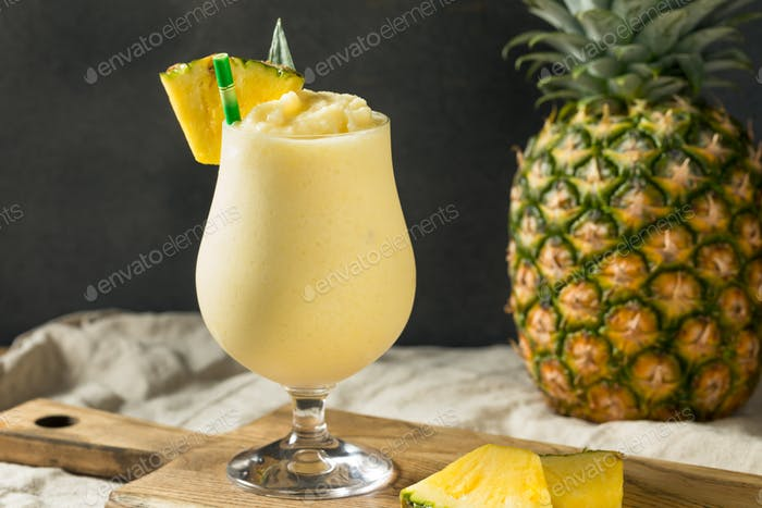 Boozy Frozen Pina Colada Cocktail