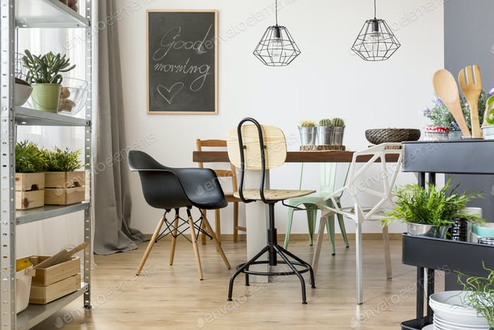 Dining room with modern chairs