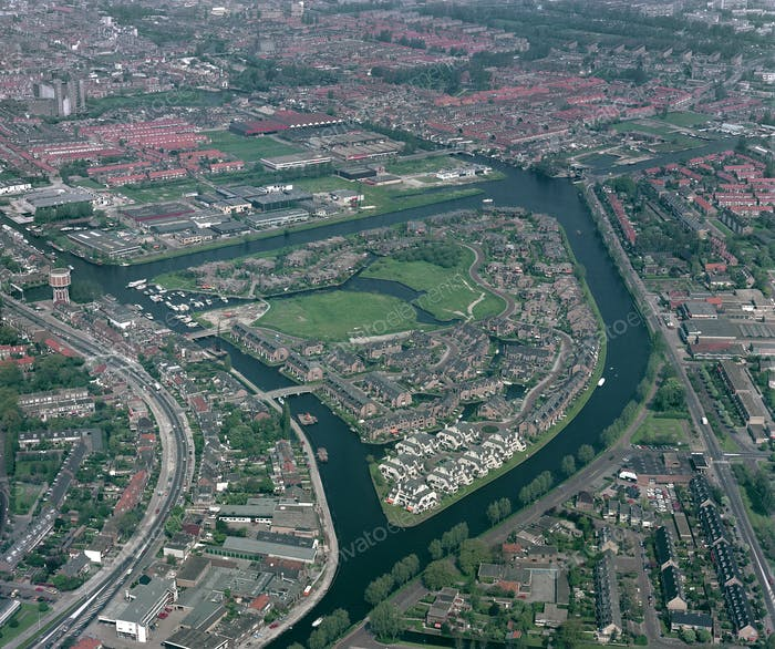 Leiden, Holland, May 17 - 1985: Historical aerial photo of the Waard eiland, Leiden, Holland