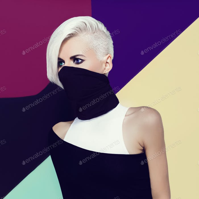 Blond ninja lady style. Fashion original photo