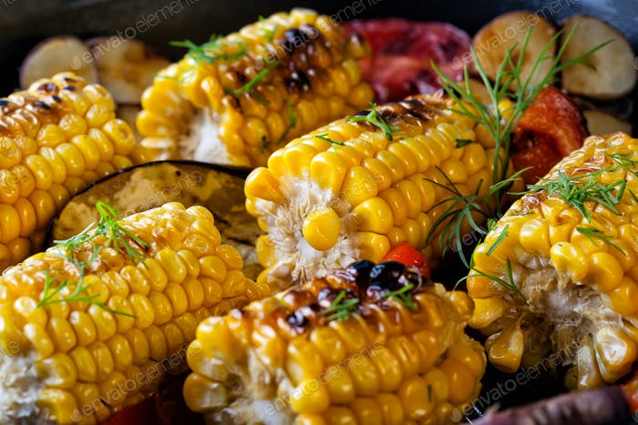 Food background made of the baked corn
