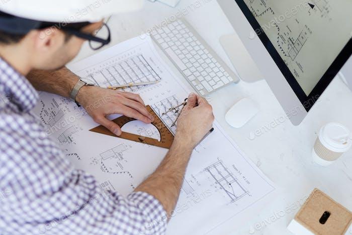 Engineer Drawing Plans High Angle