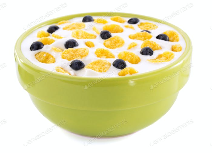 corn flakes in bowl on white