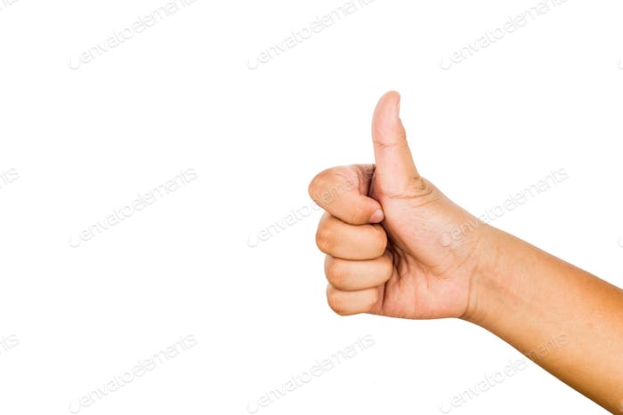 Hand with thumb up against white background.