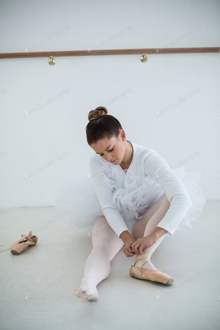 Ballerina wearing ballet shoes