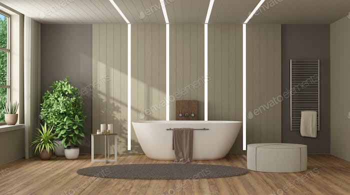 Modern home bathroom with bathtub against wooden paneling