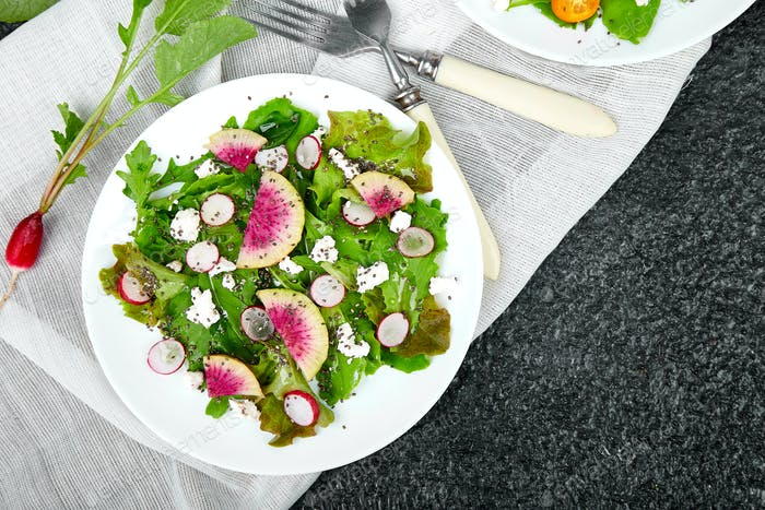 Fresh Watermelon Radish salad. Vegan, vegetarian, clean eating, dieting, food concept.