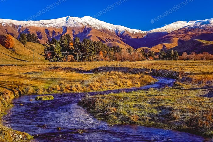 Stream and mountain scenery