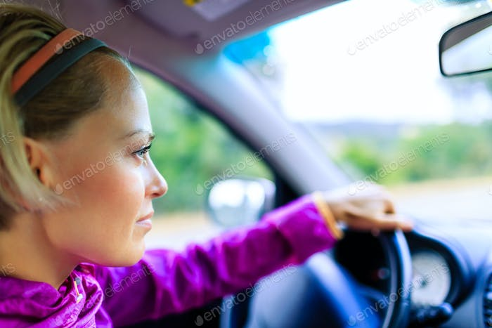 Car driving woman
