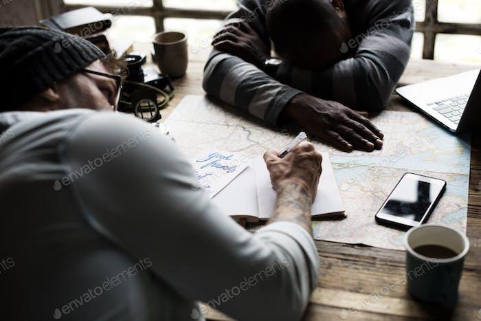 Men planning the journey