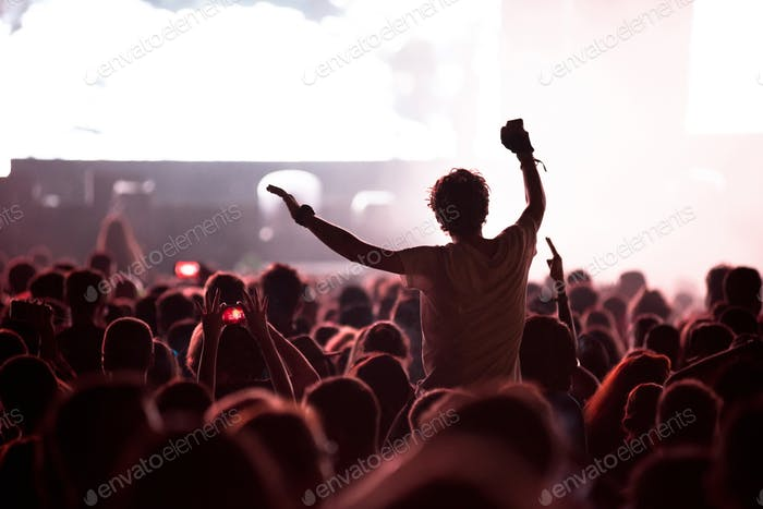 Rock concert, silhouette of people raising up hands