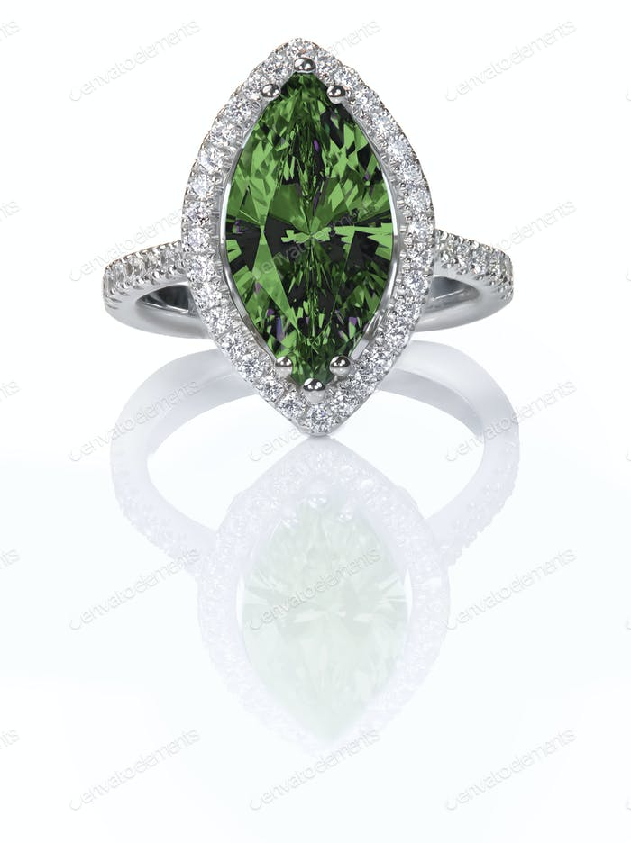 Green Emerald Beautiful Diamond Engagement ring.